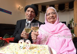 Karam (left) and Karaari Chand, aged 110 and 103 respectively, celebrate their 90th wedding anniversary at home in Bradford. Mr and Mrs Chand were married in India at a Sikh ceremony on December 11 in 1925, when the country was under British rule. WORDS BY GUZELIAN The worldís oldest living married couple have reached yet another millstone as they celebrate their 90th wedding anniversary today (DECEMBER 11). Karam and Katari Chand, from Bradford, West Yorkshire, have spent almost their entire lives together as their love for each grew stronger every year. Mr and Mrs Chand were married in India at a Sikh ceremony on December 11 in 1925, when the country was under British rule. They took the title of oldest married couple when they celebrated their 88th wedding anniversary and were looking to reach 90-year mark ever since.